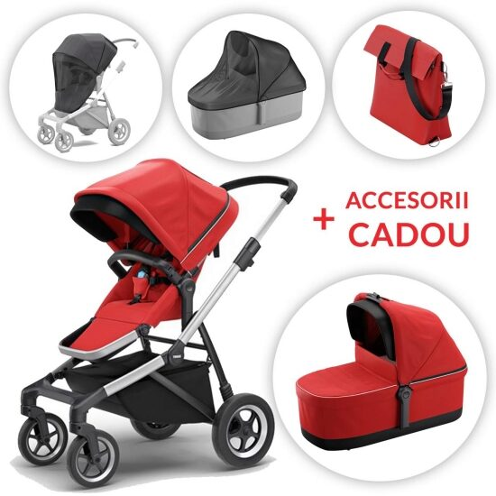 Carucior Thule SLEEK Energy Red + ACCESORII CADOU