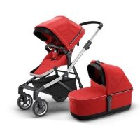 Carucior Thule Sleek + Landou Thule Bassinet Energy Red