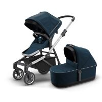 Carucior Thule Sleek + Landou Thule Bassinet Navy Blue